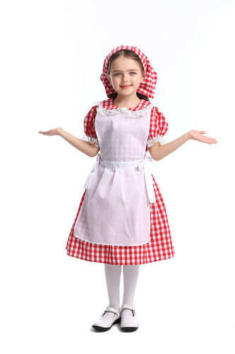 Lace red checked beer maid costume