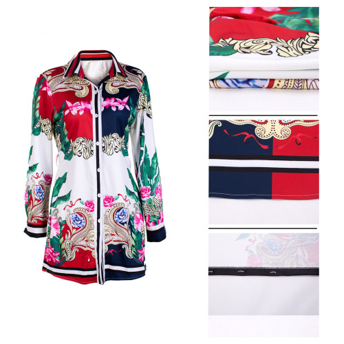 Printed Multicolor Women's Shirt Dress