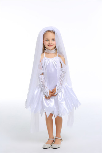 Children bride white princess dress