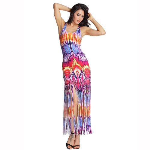 Flame Print Tassel Sleeveless Tank Cropped Sexy Beach Dress