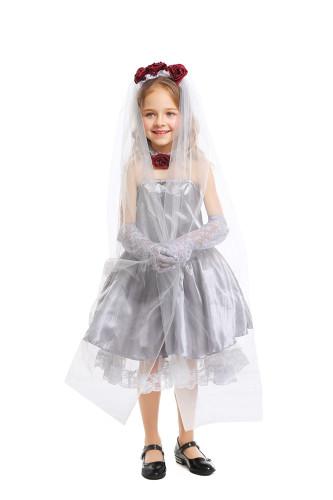 Children cosplay ghost bride silver grey dress