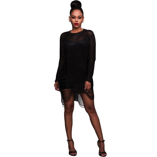 Hot sale sexy golden cutout wool skirt beach sweater blouse skirt