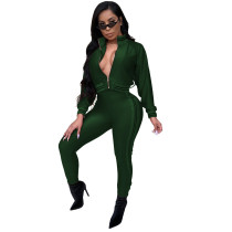 Green Casual tight leg sports suit two-piece