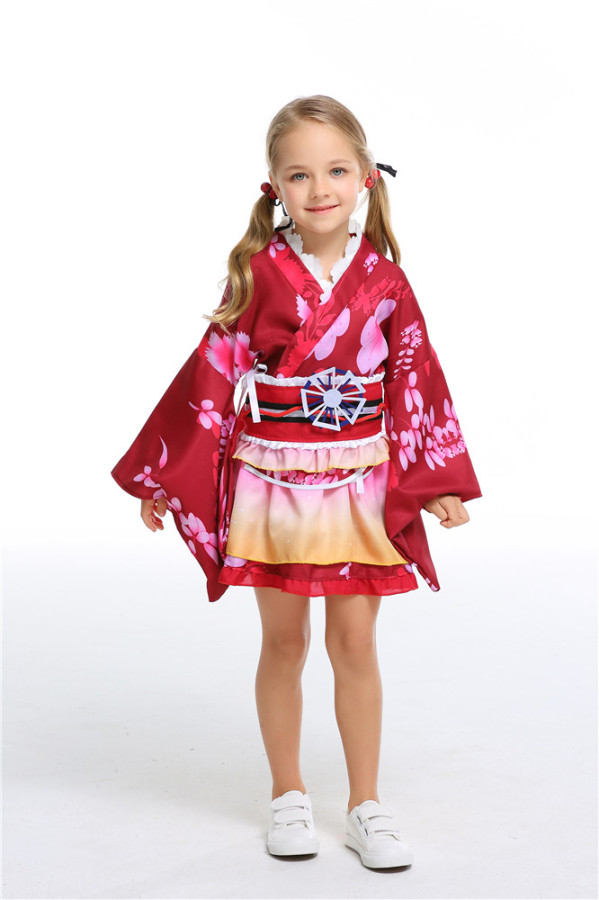 Red Yukata cosplay daily clothes