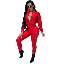 Red Casual tight leg sports suit two-piece