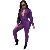 Purple Casual tight leg sports suit two-piece