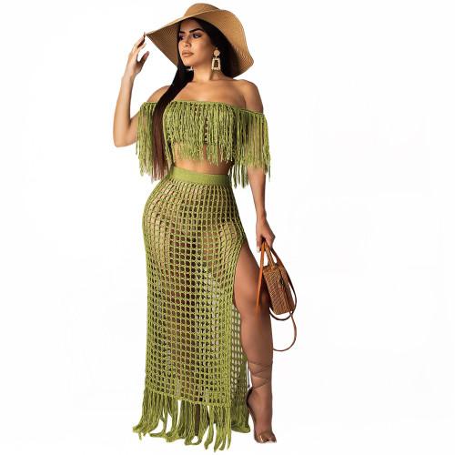 Euro-American hollow hand tassel sleeveless beach skirt cover-ups