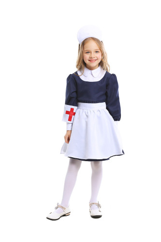 Girls blue white maid nurse skirt