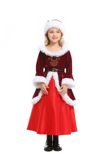 Cute Christmas girl dress in wine red dress