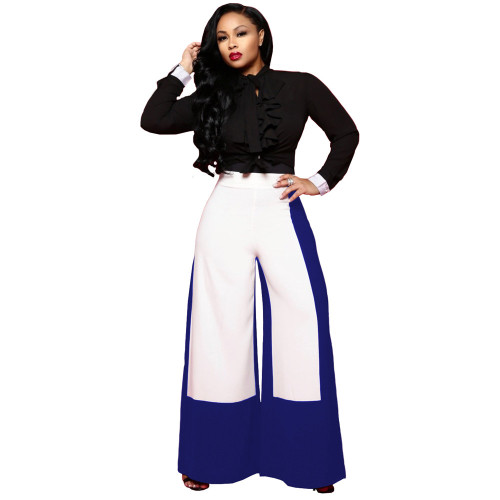 Fashion high waist wide leg pants stitching contrast trousers
