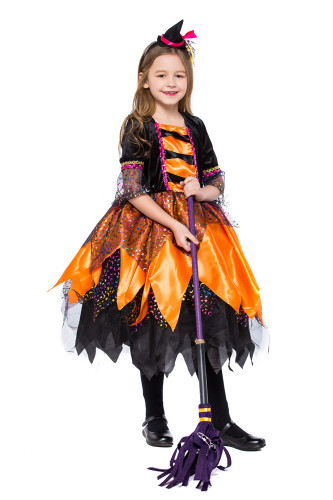Child orange little witch costume