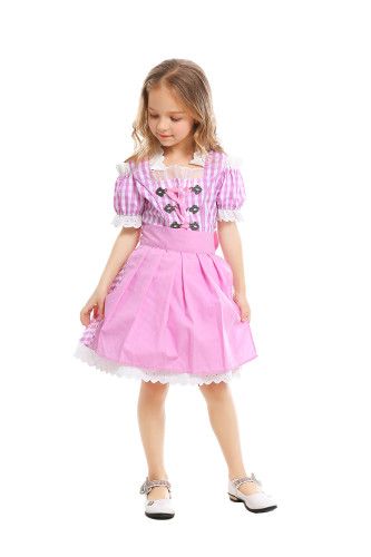 Oktoberfest pink plaid children's clothing