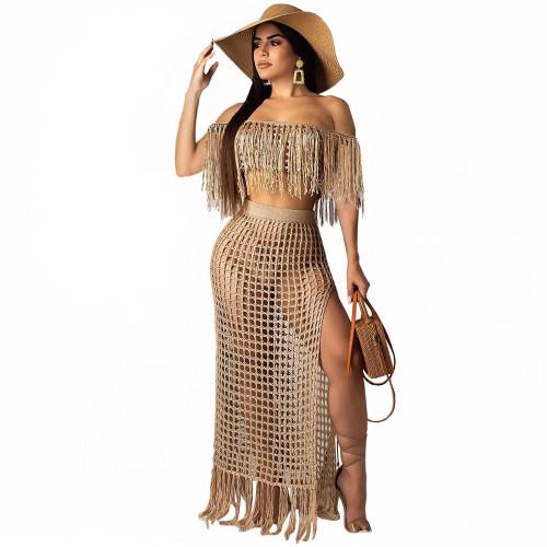 Beige Euro-American hollow hand tassel sleeveless beach skirt cover-ups