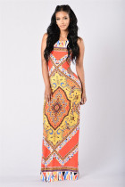 Totem Print Sling Nude Back Sexy Open Waist Cropped Dress