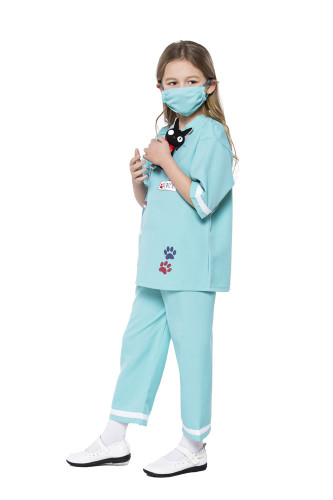 Light green Children's cosplay medic costumes