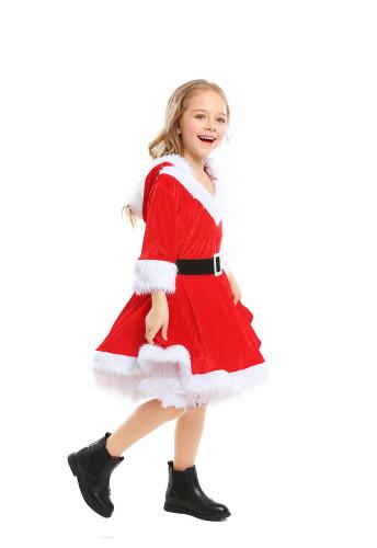 Christmas girl cos red fluffy dress