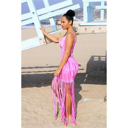 Pink  Print Tassel Sleeveless Tank Cropped Sexy Beach Dress