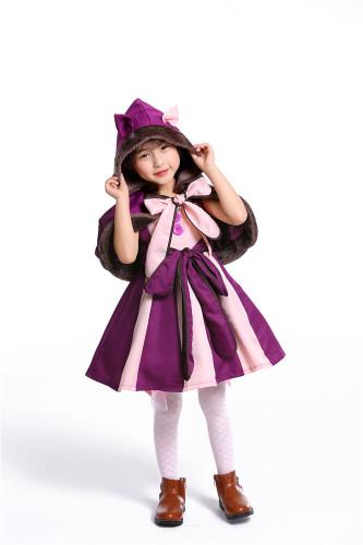 Alice in Wonderland children purple girl cosplay costume