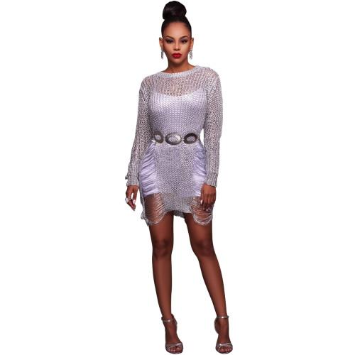 purple Hot sale sexy golden cutout wool skirt beach sweater blouse skirt