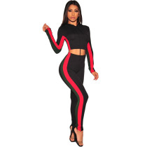 Black Fashion casual tight leg sports suit two-piece