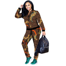 Brown Fashion Trend Digital Printing Set Two Piece Set