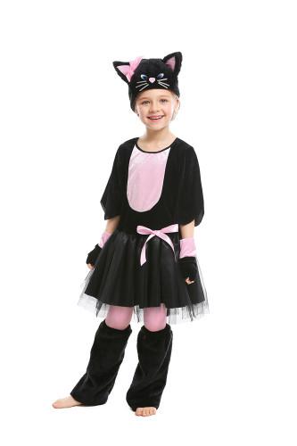 Black cat pink bow animal costume