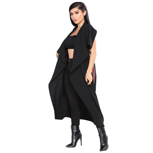 New Euro-American fashion women's irregular lapel long cape