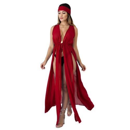 2020 Cardigan Chiffon Skirt Long Jacket Sexy Cape Beach Skirt Blouse