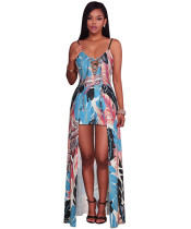 Rage Feather Print Lace Up Sexy Jumpsuit