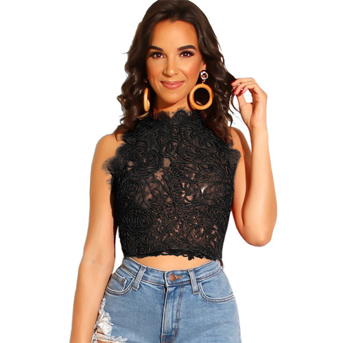 Euro-America Black Lace Strappy Embroidery Bustier Crop Top