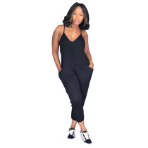 Black Sexy classic solid color jumpsuit