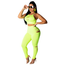 Green Sports suit fashion casual two-piece suit