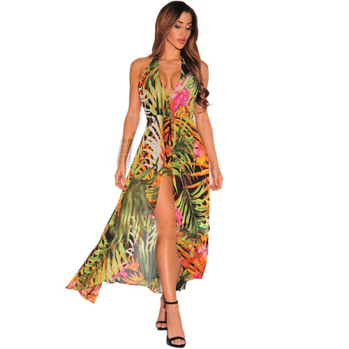 Printed Dress Backless Sexy Beach Skirt