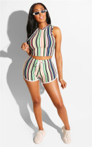Green Stylish Striped Print Casual Sports Suit with Cap