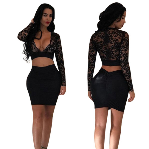 Black Professional women's lace see-through casual two-piece suit