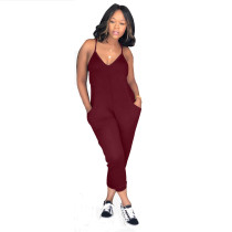 Red Sexy classic solid color jumpsuit