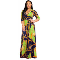 Green V-neck fine print plus size dress