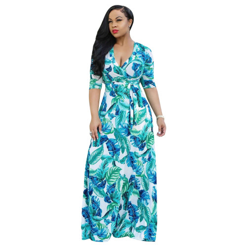 Light blue V-neck fine print plus size dress