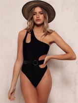 Hollow One Shoulder Bikini Swimsuit