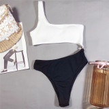 Black and white split bikini