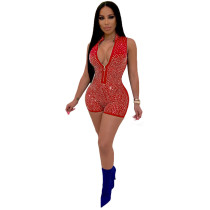 Red Sleeveless hot brick casual jumpsuit casual nightclub outfit