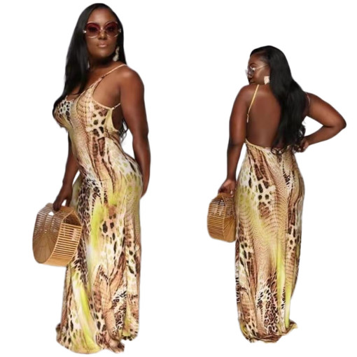 Euro-American stitching shoulder strap backless fashion grain of snake dress
