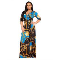 Blue V-neck fine print plus size dress