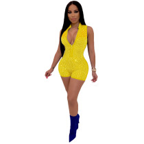 Yellow Sleeveless hot brick casual jumpsuit casual nightclub outfit