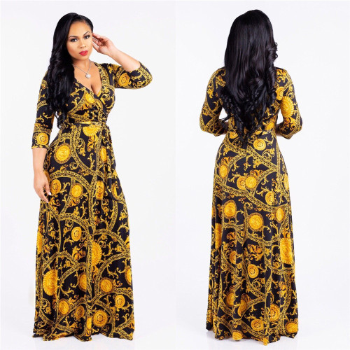 Gold V-neck fine print plus size dress