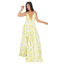 Yellow Deep V-neck open-back chiffon dress