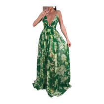 Green Deep V-neck open-back chiffon dress