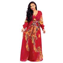 Dark Red Printed chiffon sexy V-neck dress