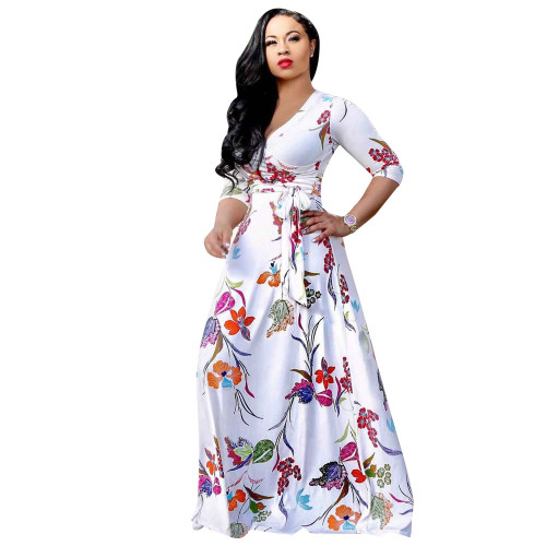 White V-neck fine print plus size dress