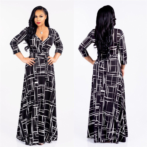 Black V-neck fine print plus size dress